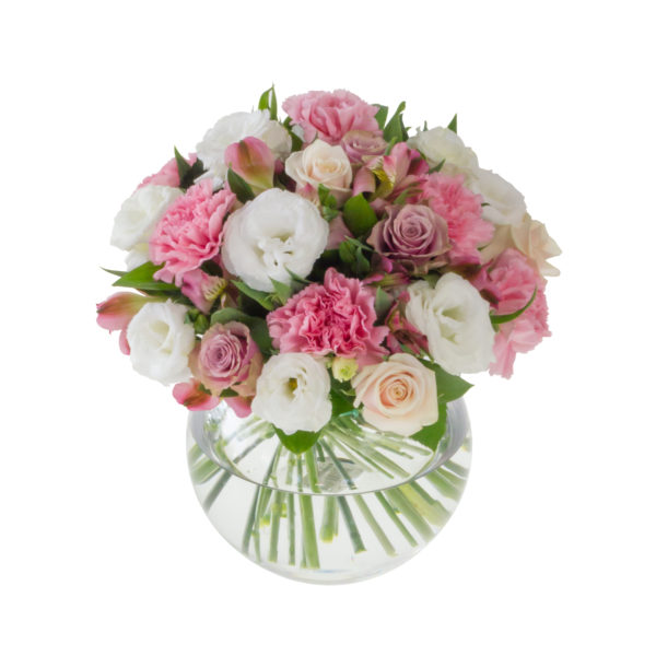carnations and peach roses