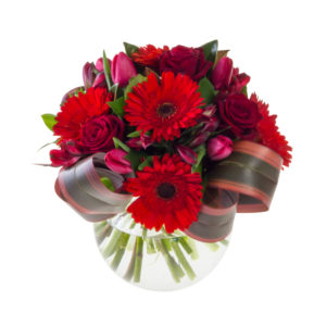 Red flower arrangement in Browns Bay Auckland